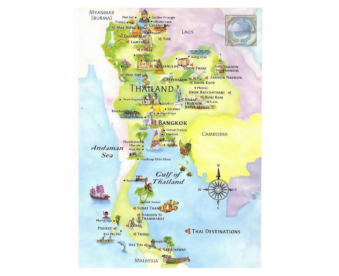 Tourist illustrated map of Thailand