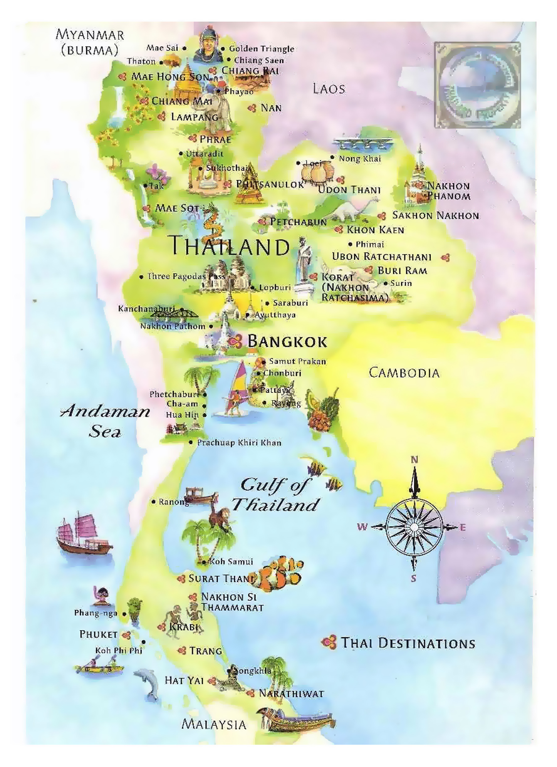Tourist Illustrated Map Of Thailand Thailand Asia Mapsland