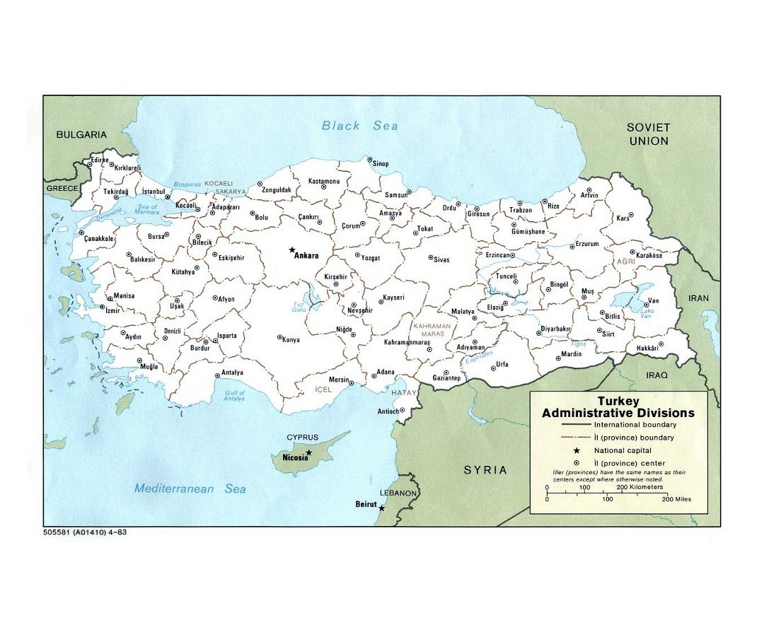 Detailed administrative divisions map of Turkey - 1983
