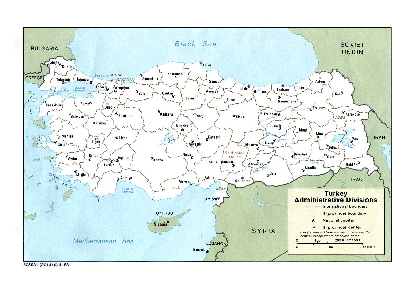 Detailed administrative divisions map of Turkey 1983 Turkey