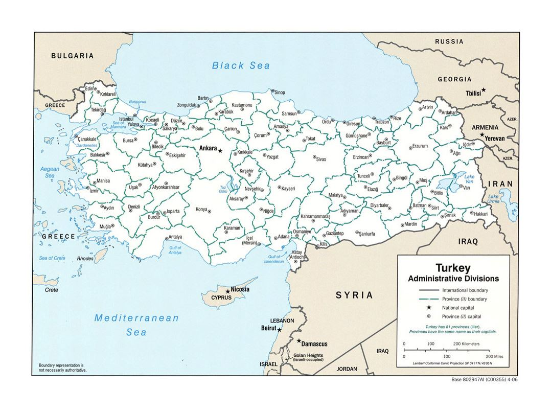 Detailed administrative divisions map of Turkey - 2006