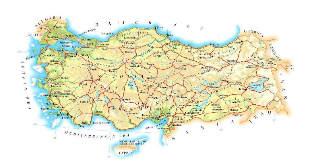 Detailed elevation map of Turkey with roads, railroads, cities and airports