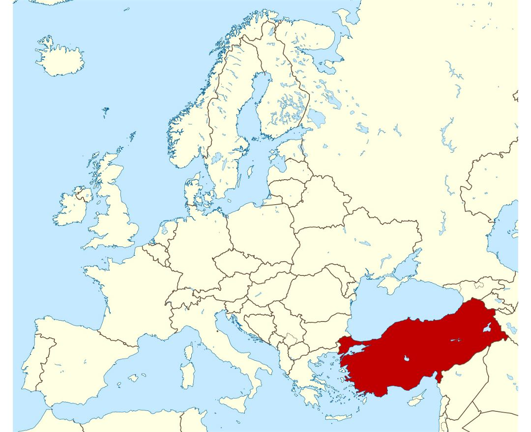 Detailed location map of Turkey in Europe