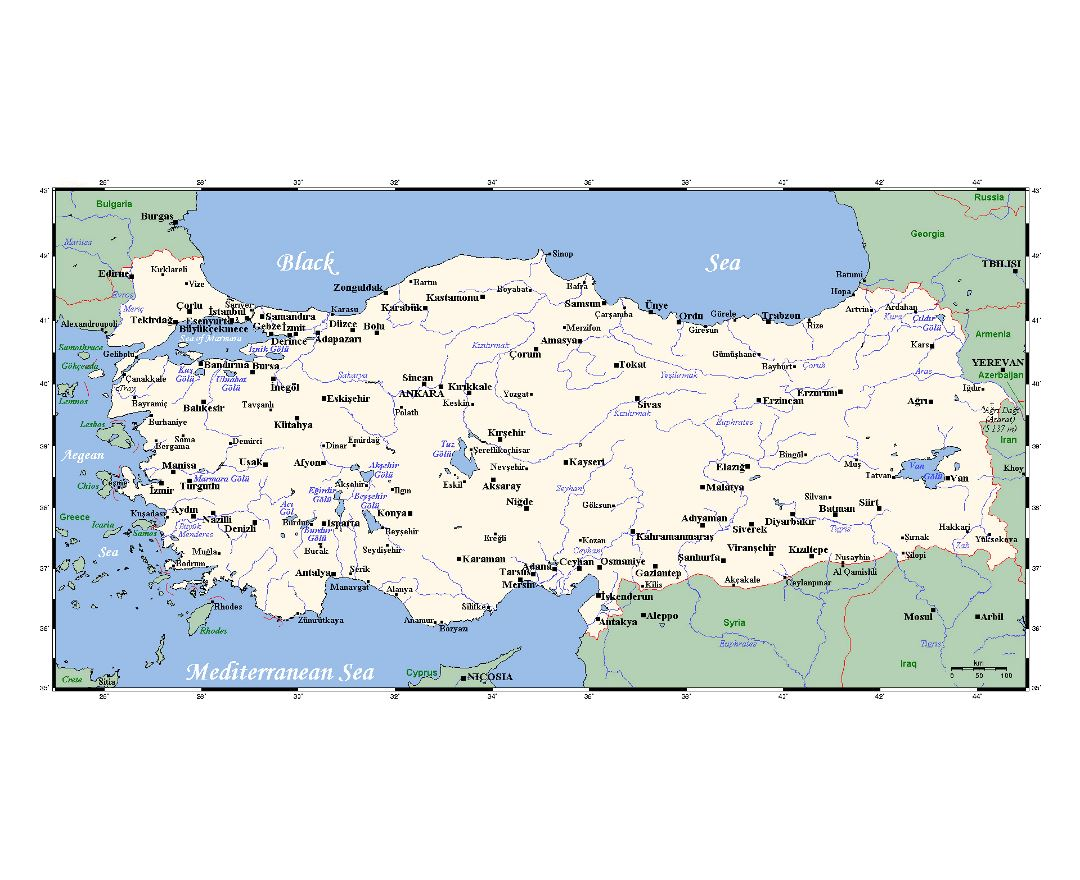 Detailed map of Turkey with major cities