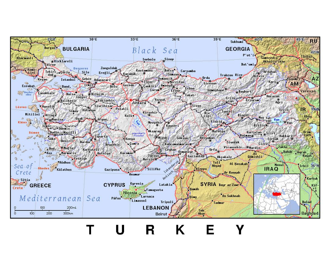 Detailed political map of Turkey with relief