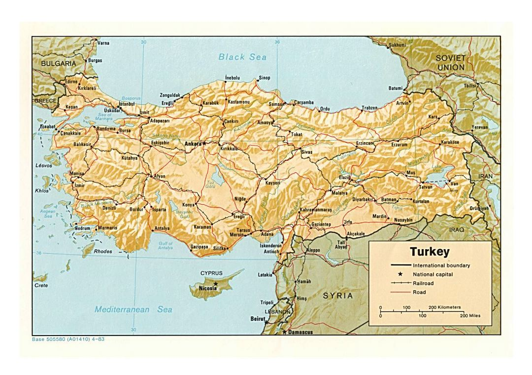 Detailed political map of Turkey with relief, roads, railroads and major cities - 1983