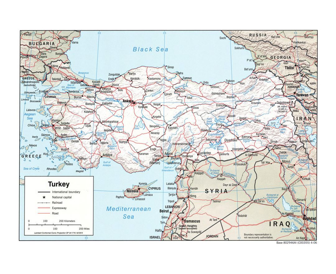 Detailed political map of Turkey with relief, roads, railroads and major cities - 2006