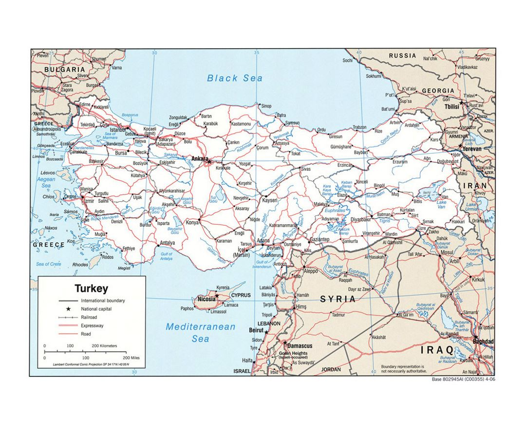 Detailed political map of Turkey with roads, railroads and major cities - 2006