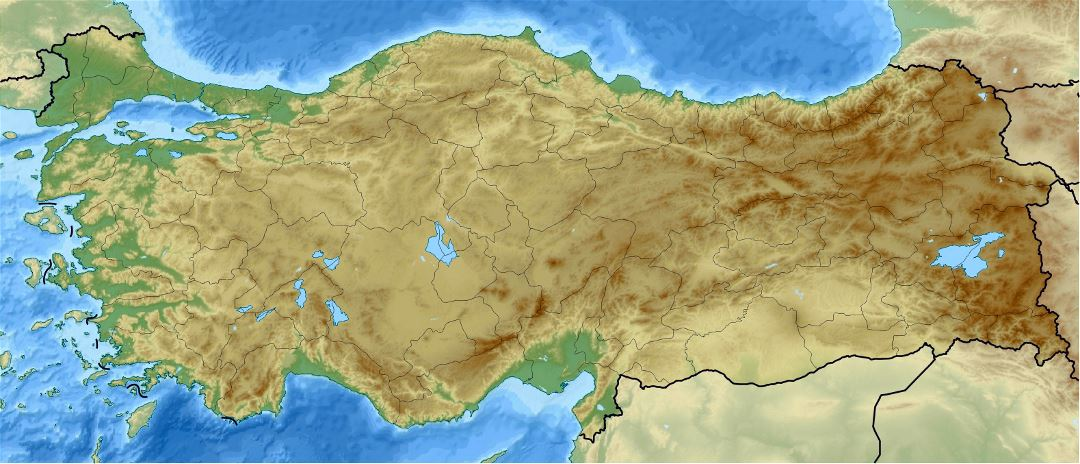 Detailed relief location map of Turkey