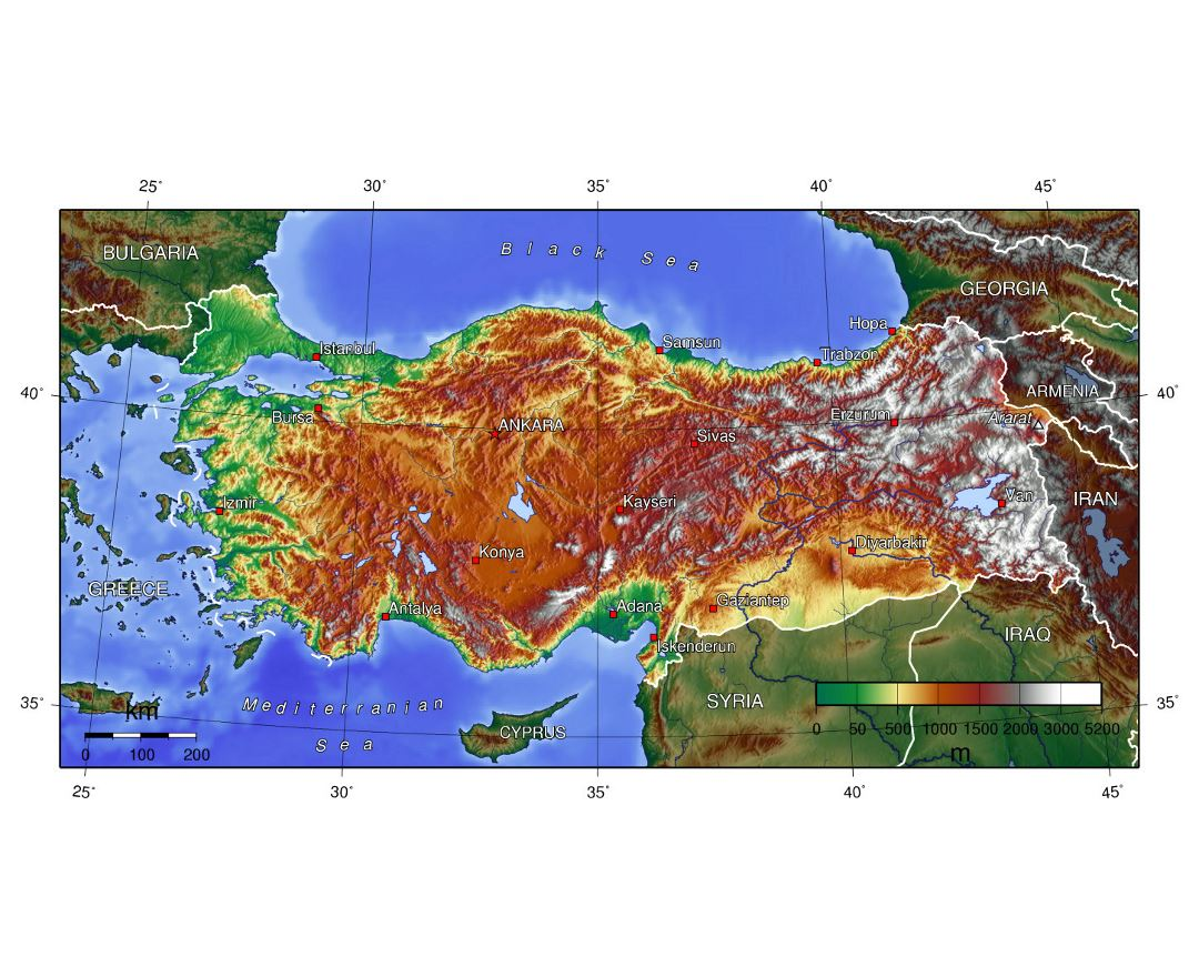 Detailed topographical map of Turkey