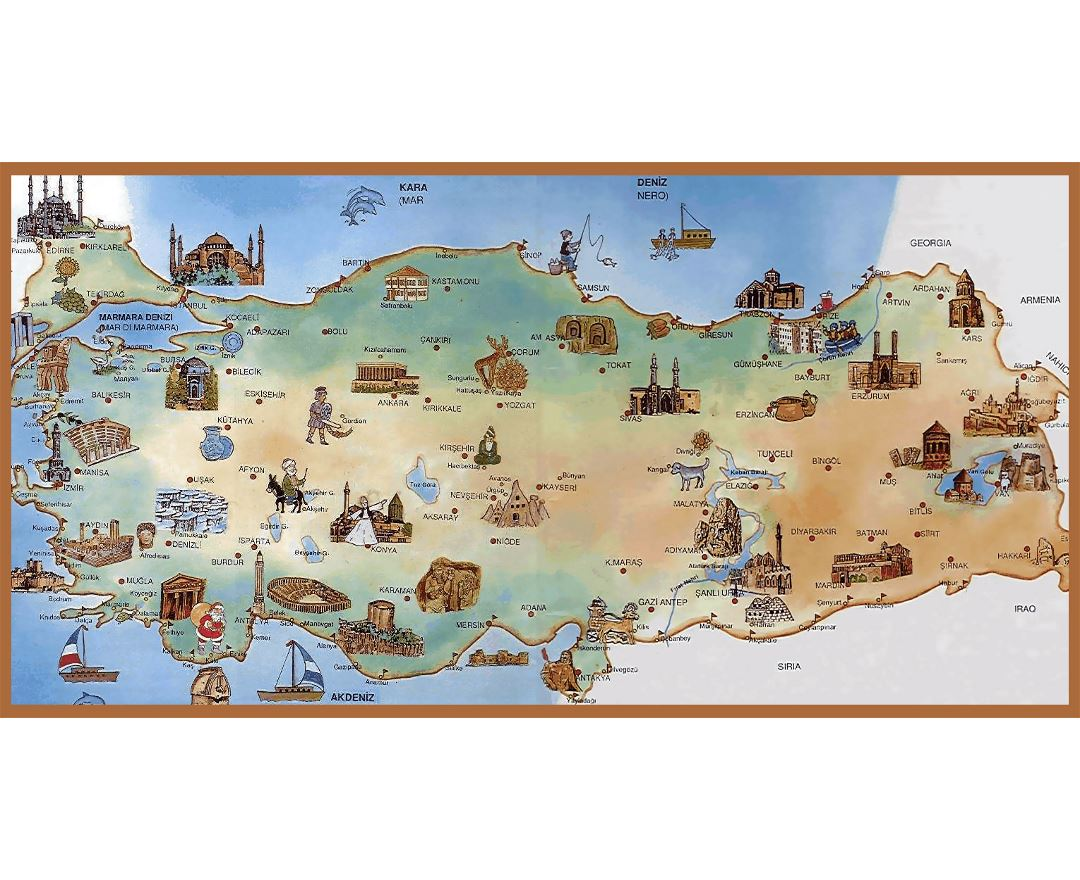 Detailed tourist illustrated map of Turkey