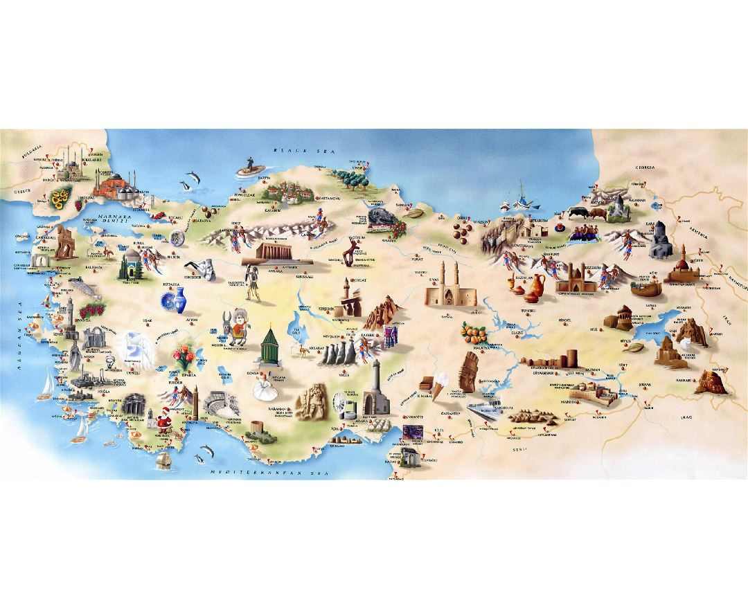 Detailed tourist map of Turkey