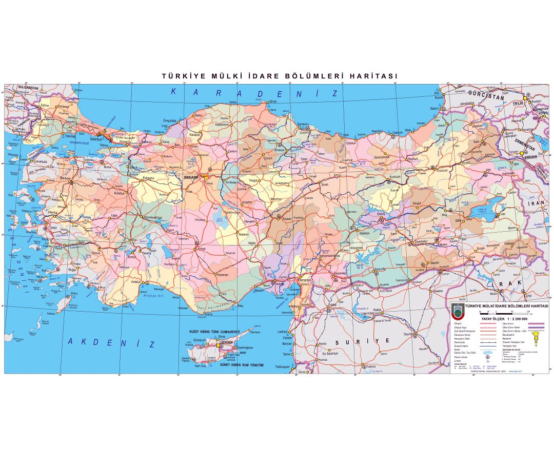 In high resolution detailed politica and administrative map of Turkey with roads, railroads, cities, airports and ports in turkish