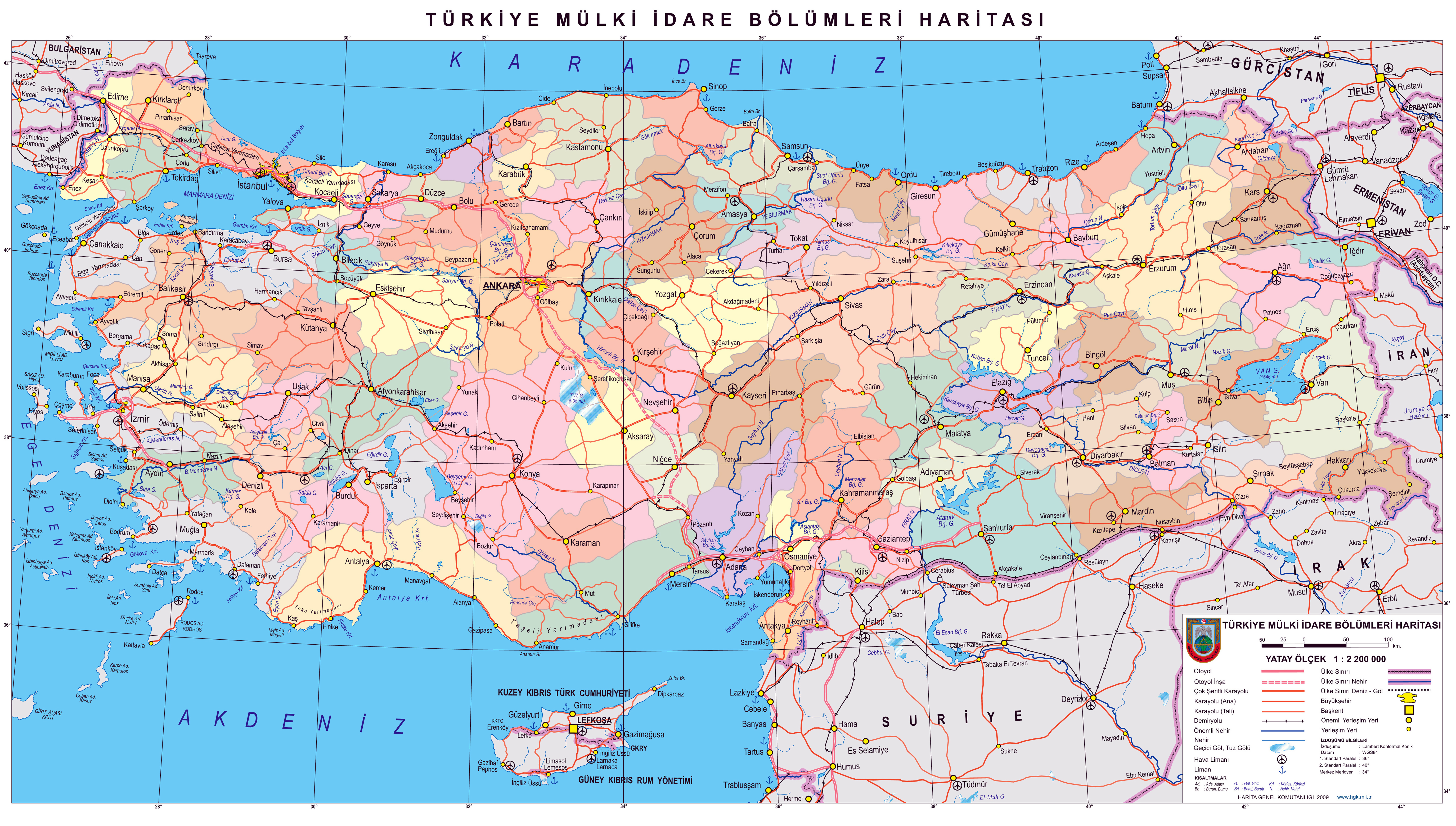 In high resolution detailed politica and administrative map of