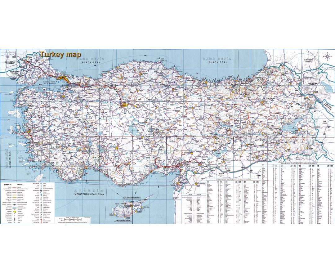 In high resolution detailed road map of Turkey with other marks