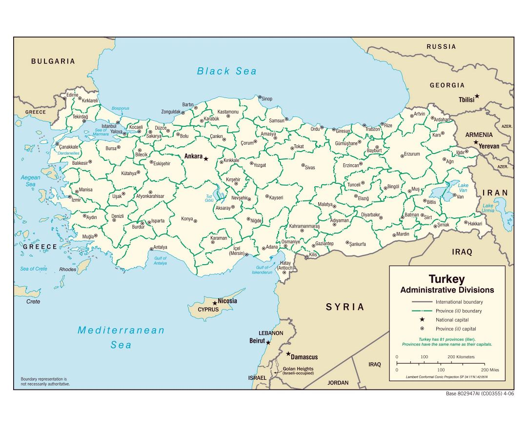 Large administrative divisions map of Turkey - 2006