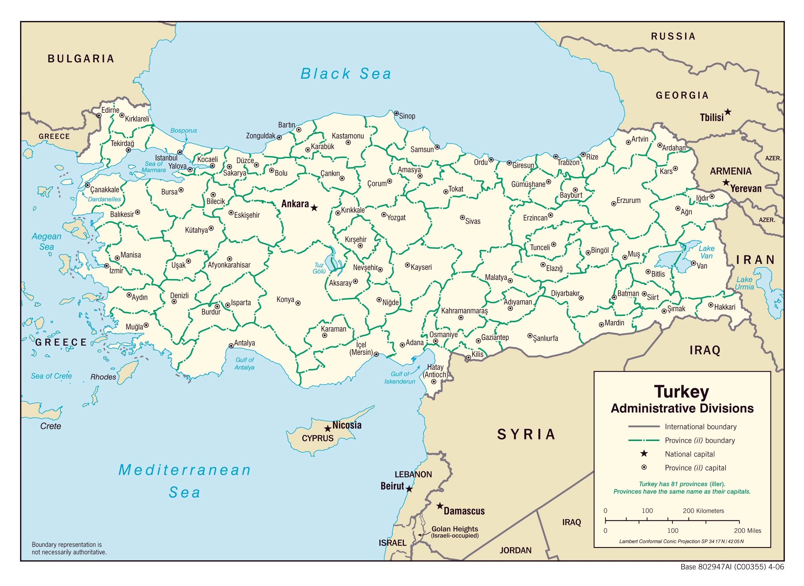 Large administrative divisions map of Turkey 2006 Turkey Asia