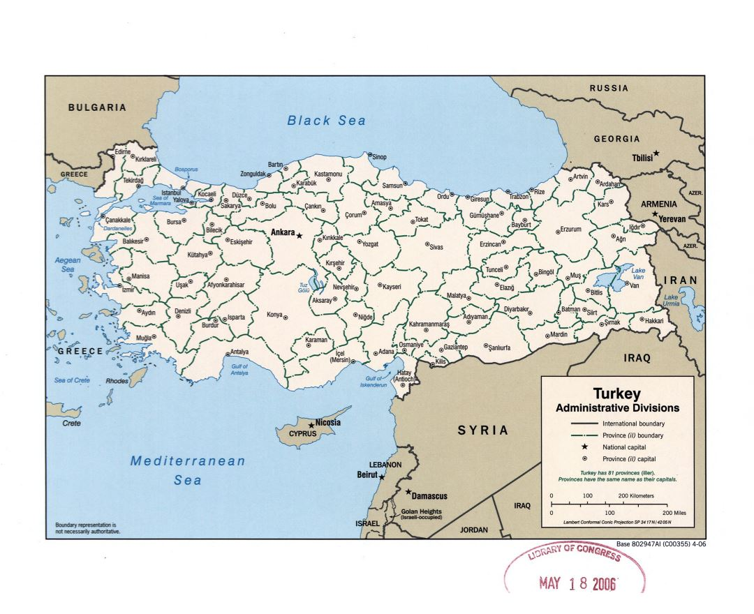 Large detailed administrative divisions map of Turkey - 2006