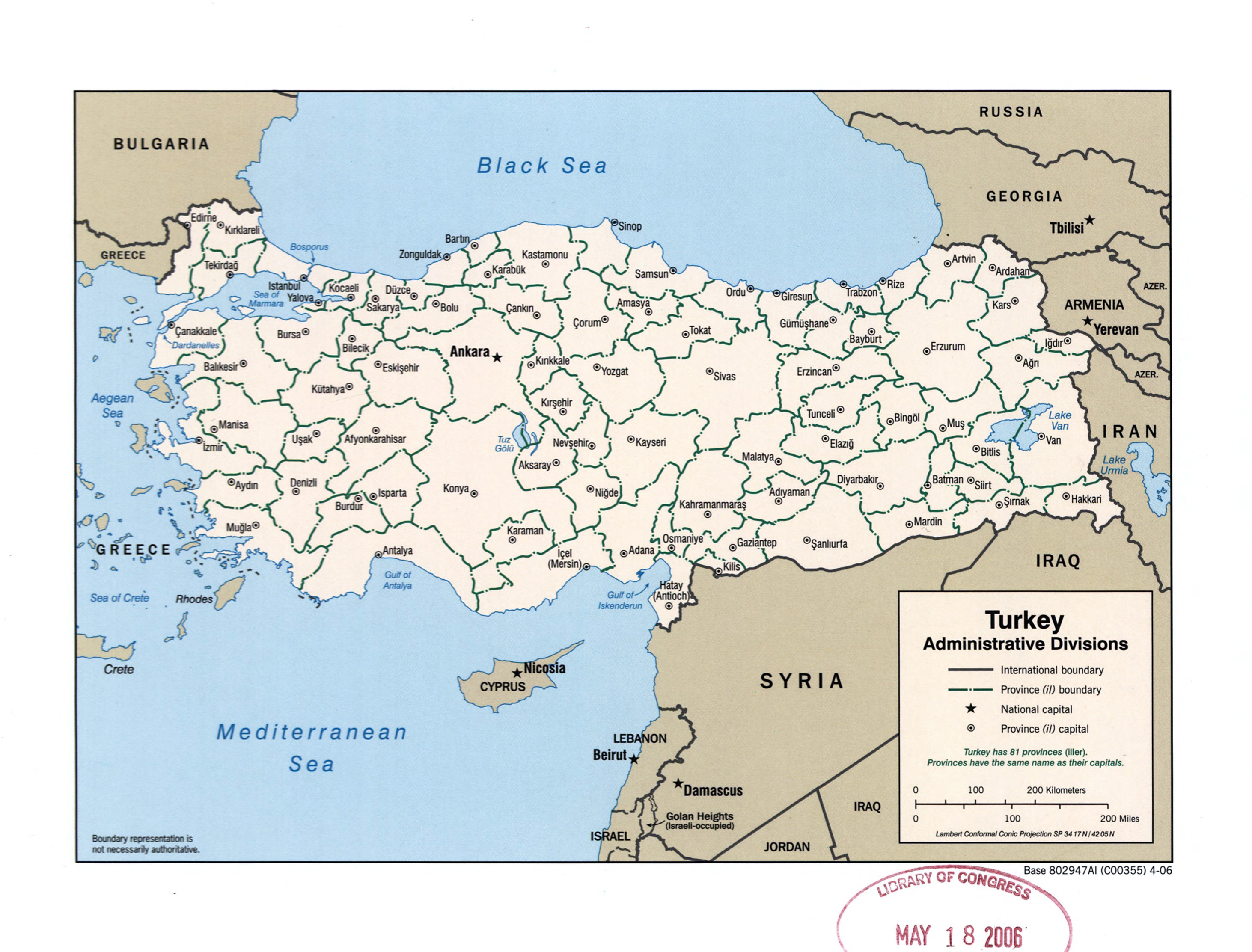 Large detailed administrative divisions map of Turkey 2006