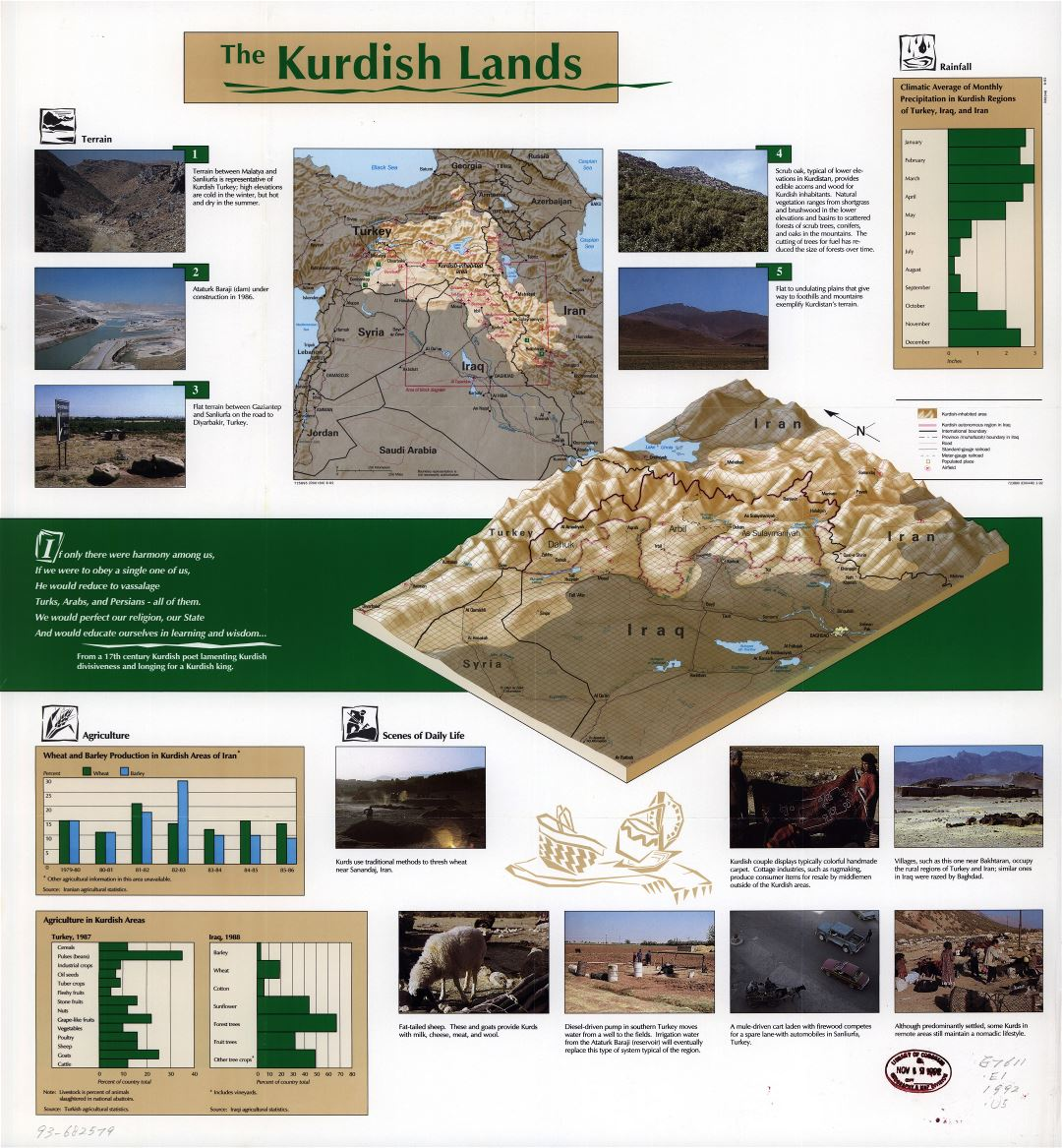 Large detailed map of the Kurdish Lands - 1992