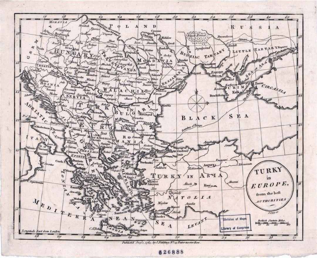 Large detailed old antique map of Turkey in Europe - 1783