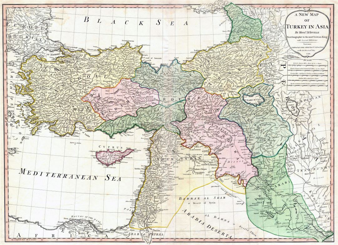 Large detailed old map of Turkey - 1794
