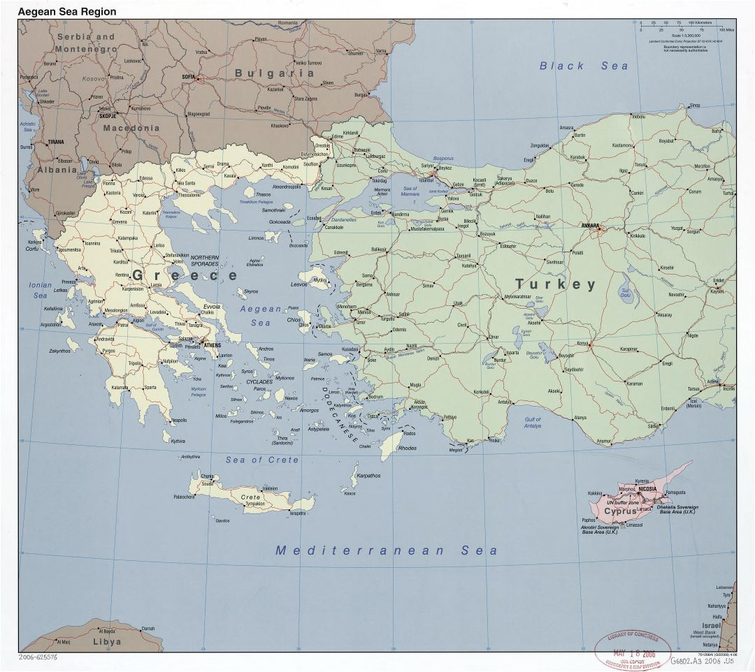 Large detailed political map of Aegean Sea Region with roads, railroads and major cities - 2006