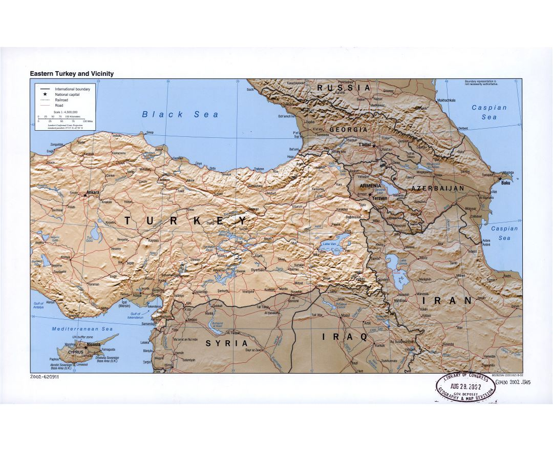 Large detailed political map of Eastern Turkey and vicinity with relief, roads, railroads and cities - 2002