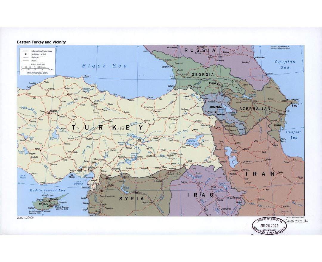 Large detailed political map of Eastern Turkey and vicinity with roads, railroads and cities - 2002
