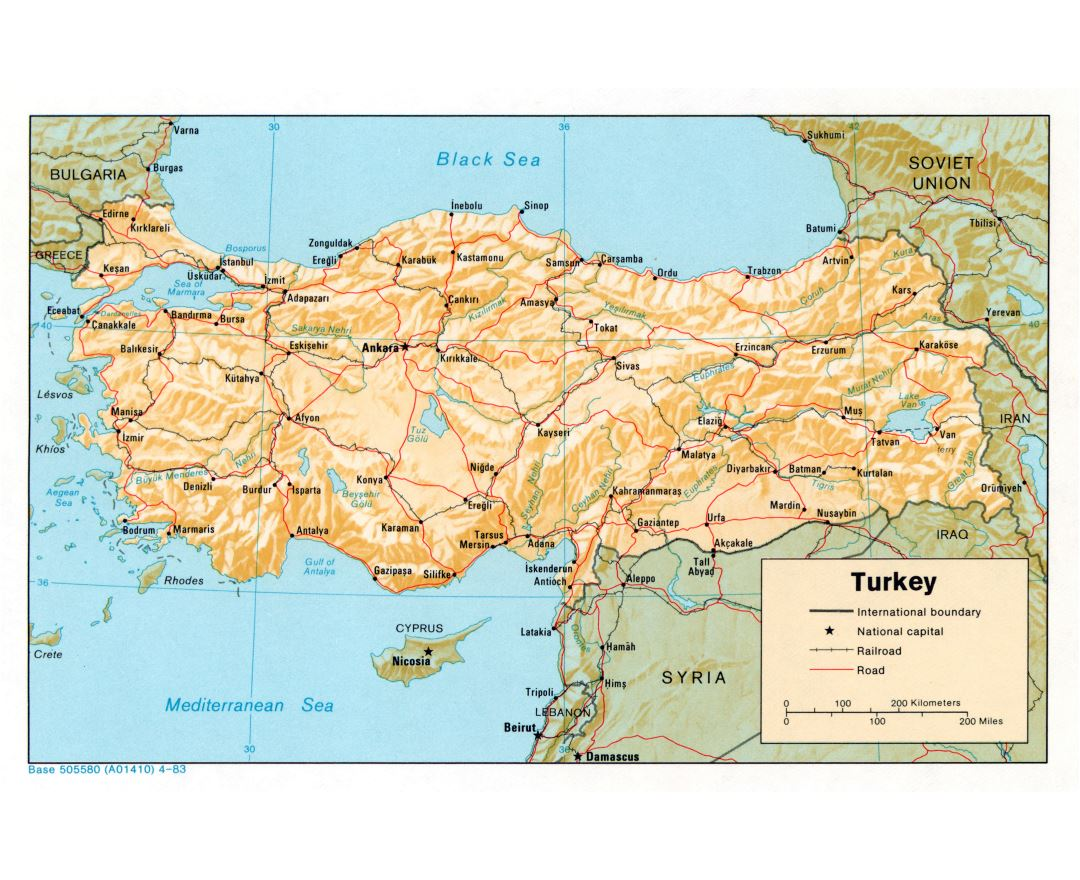 Large detailed political map of Turkey with relief, roads, railroads and major cities - 1983