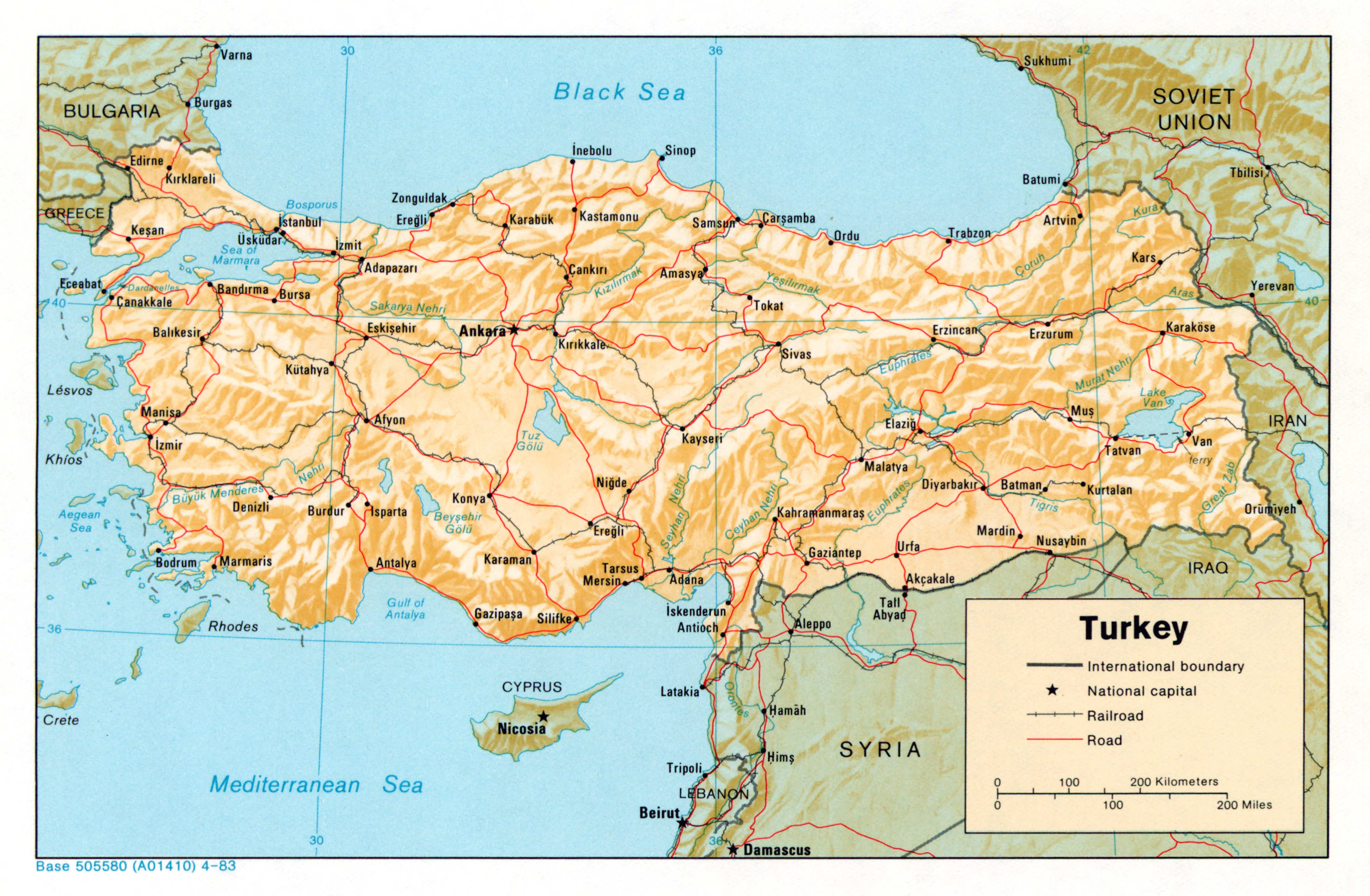 Large detailed political map of Turkey with relief roads railroads