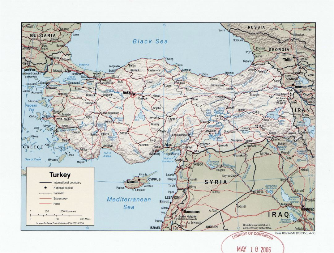 Large detailed political map of Turkey with relief, roads, railroads and major cities - 2006