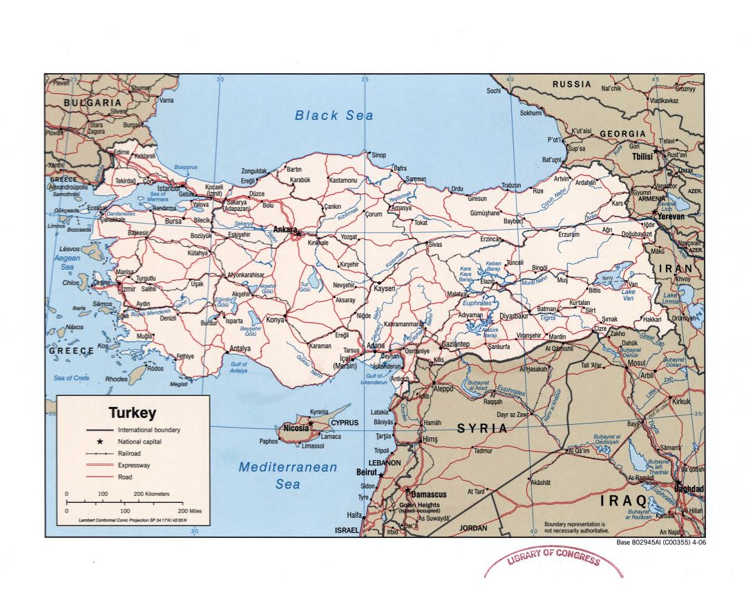 Large detailed political map of Turkey with roads, railroads and major cities - 2006