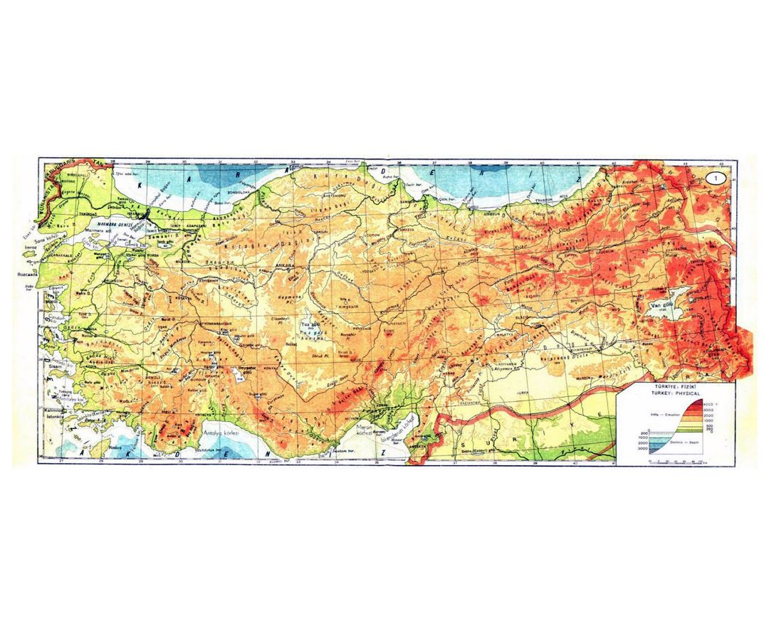 Large physical map of Turkey