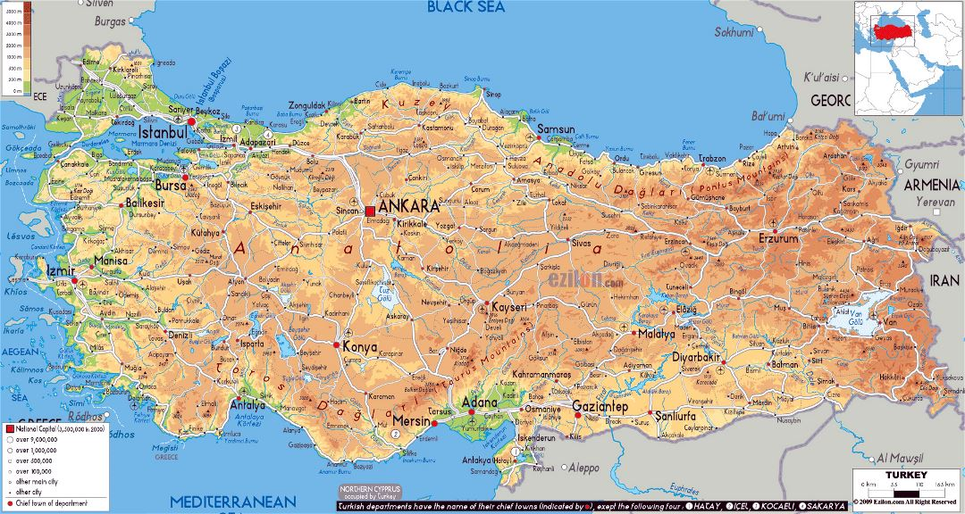 Large physical map of Turkey with roads, cities and airports