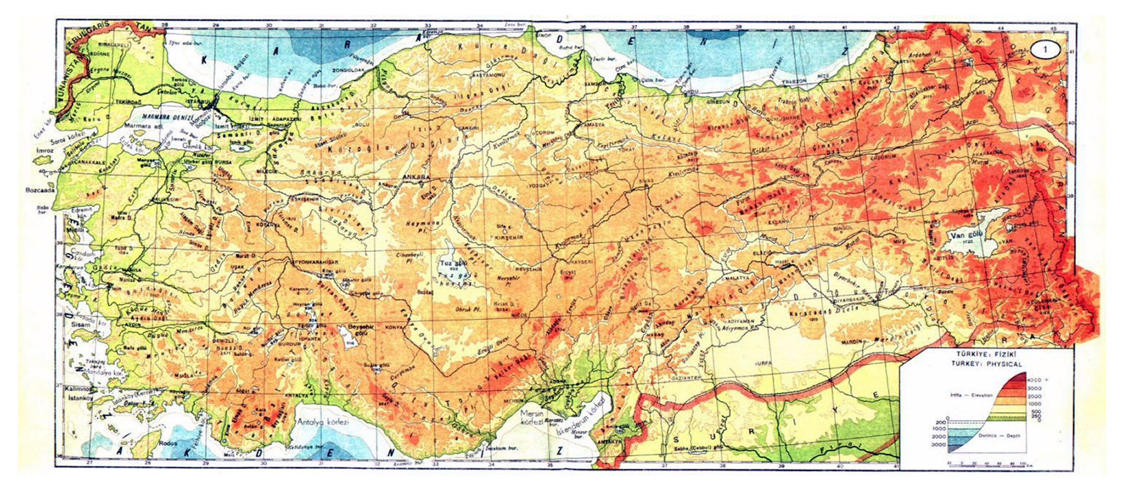 Large physical map of Turkey | Turkey | Asia | Mapsland | Maps of ...