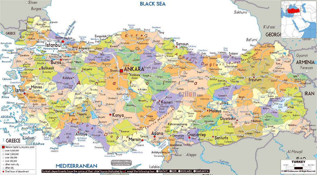 Large political and administrative map of Turkey with roads, cities and airports