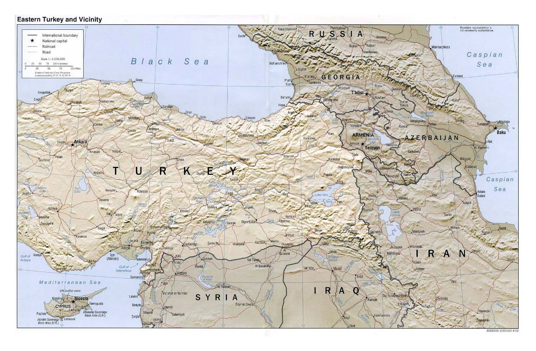 Large political map of Eastern Turkey and vicinity with relief, roads, railroads and cities - 2002