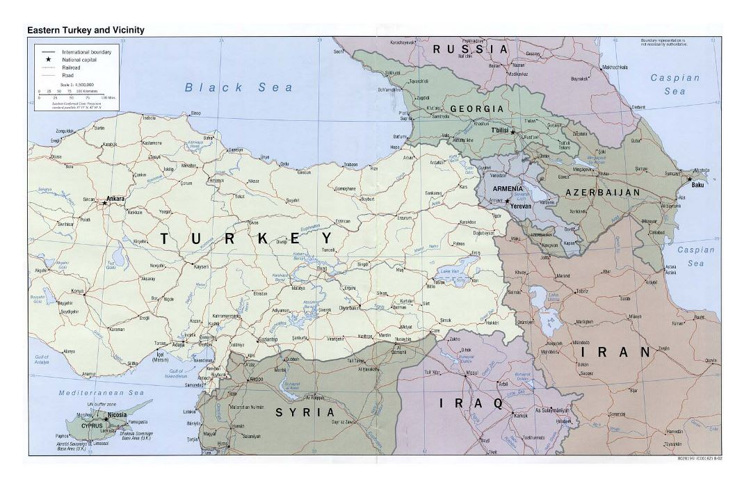 Large political map of Eastern Turkey and vicinity with roads, railroads and cities - 2002