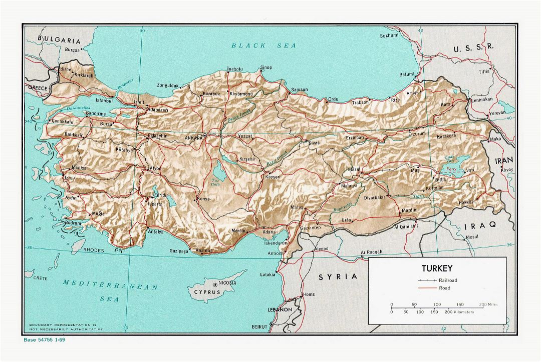 Large political map of Turkey with relief, roads, railroads and major cities - 1969