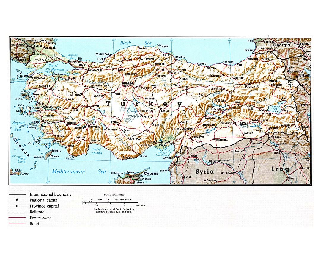 Large political map of Turkey with relief, roads, railroads and major cities - 1993