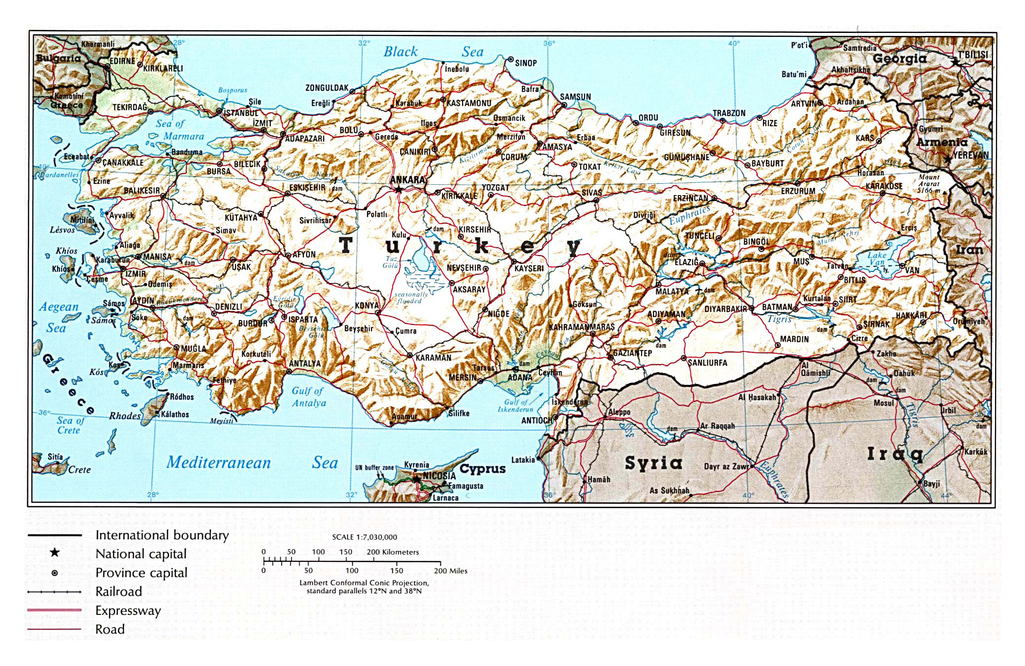Large political map of Turkey with relief, roads, railroads and ...