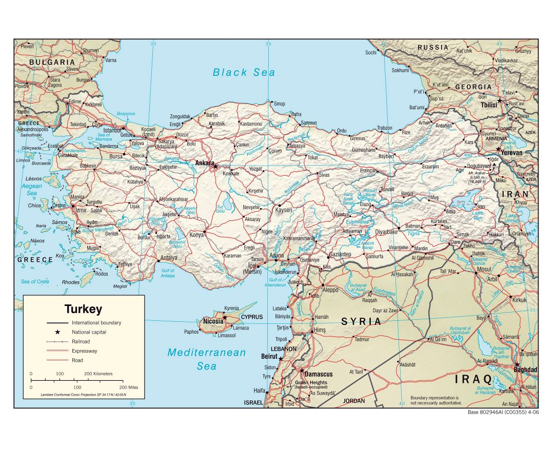 Large political map of Turkey with relief, roads, railroads and major cities - 2006