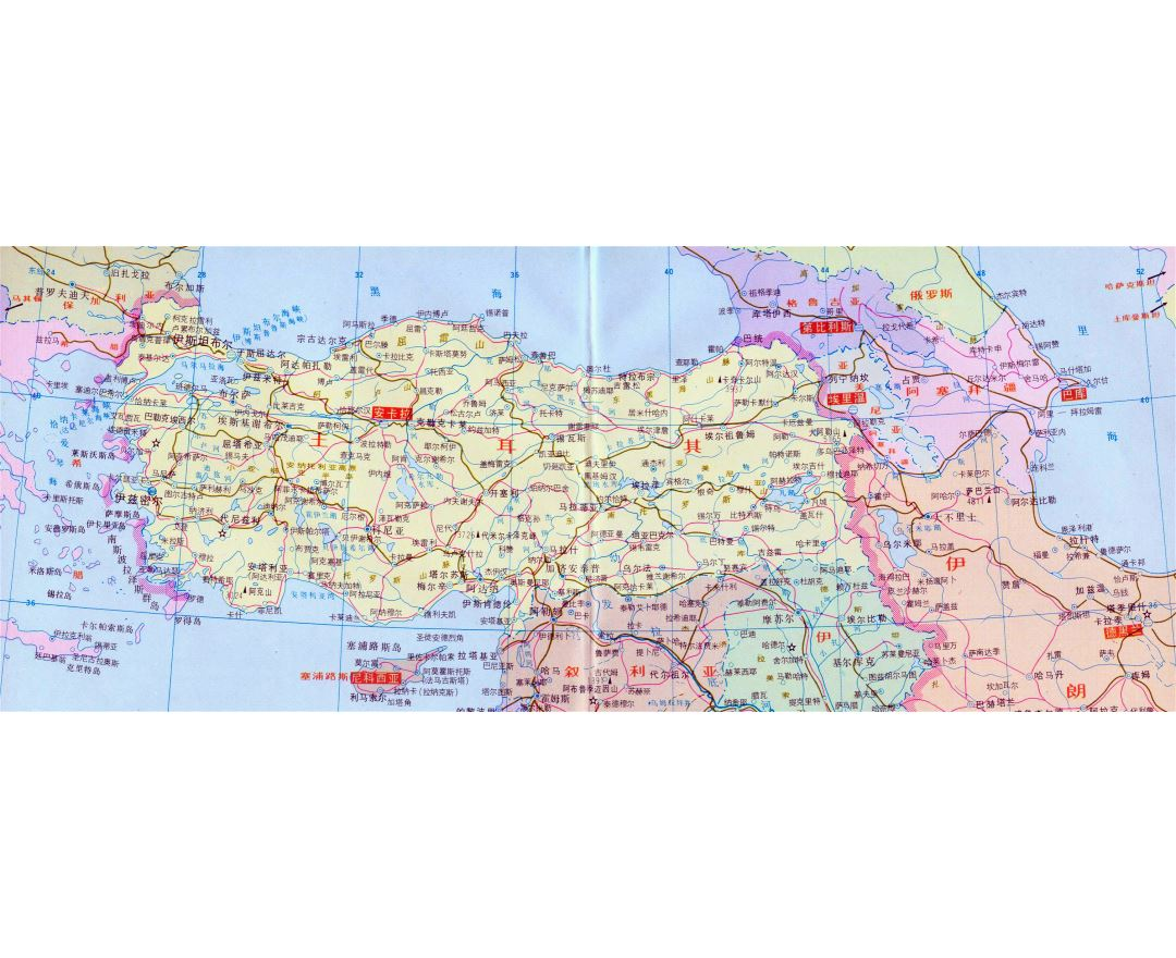 Large political map of Turkey with roads in chinese