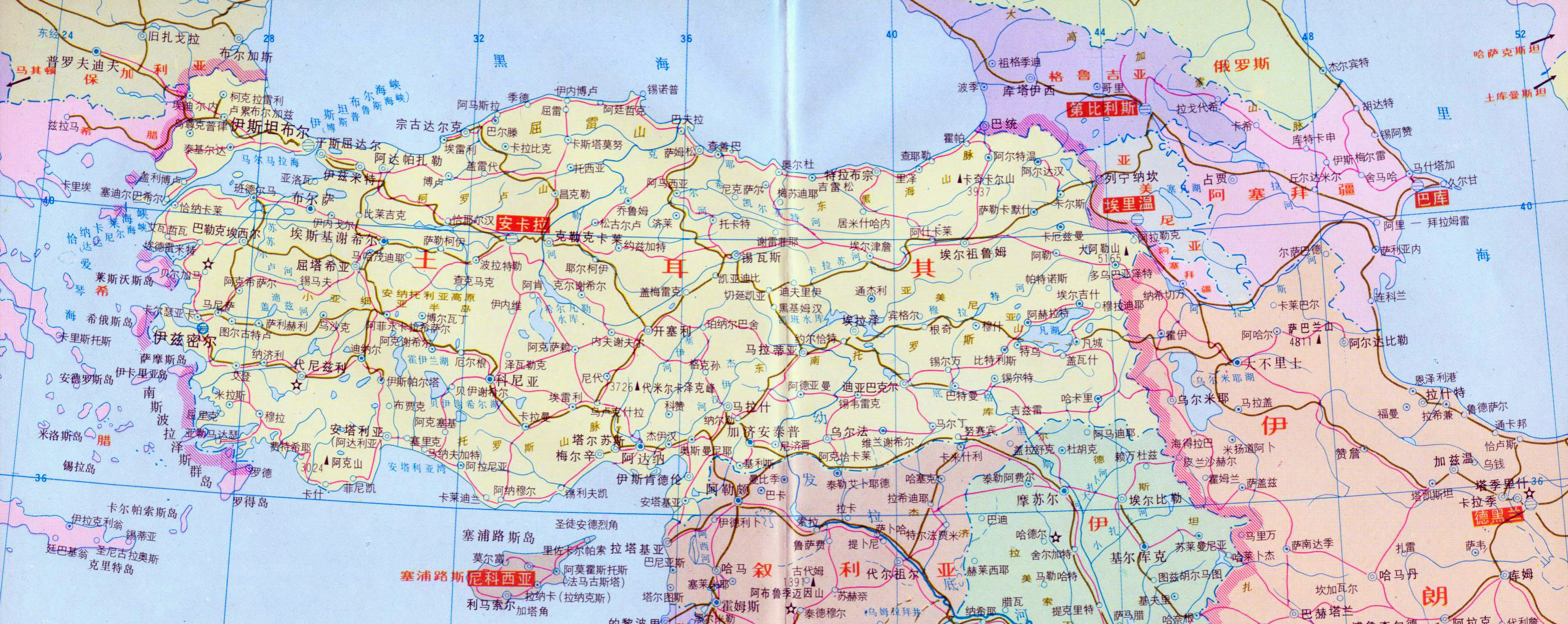 Large political map of turkey with roads in chinese turkey asia large political map of turkey with roads in chinese gumiabroncs Choice Image