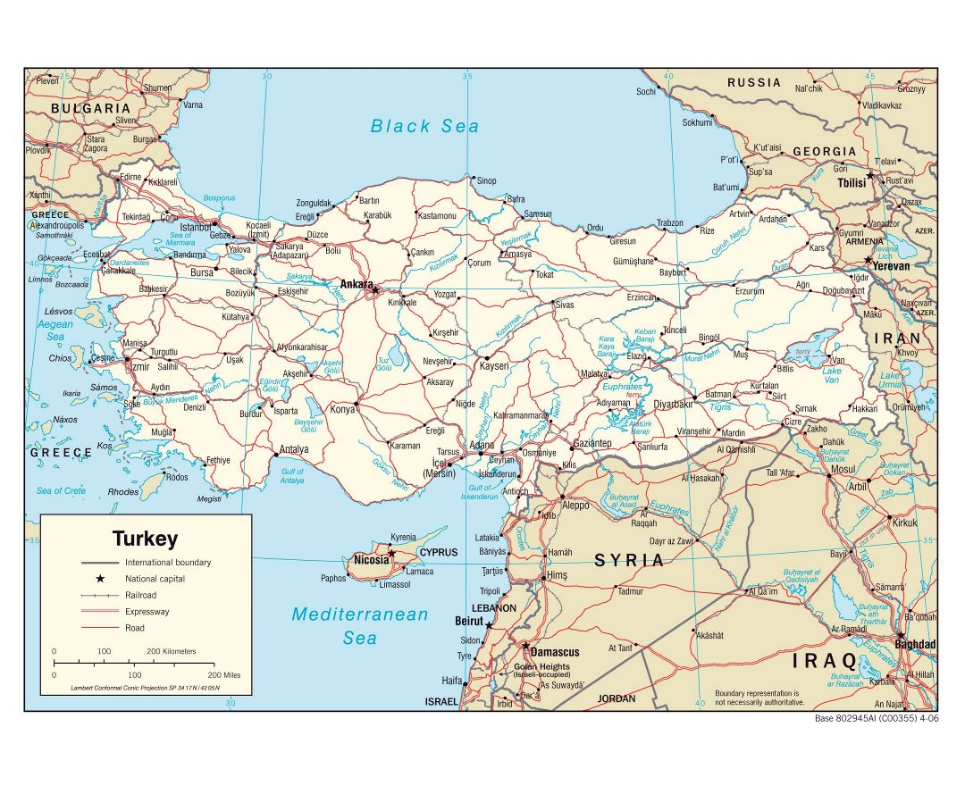 Large political map of Turkey with roads, railroads and major cities - 2006