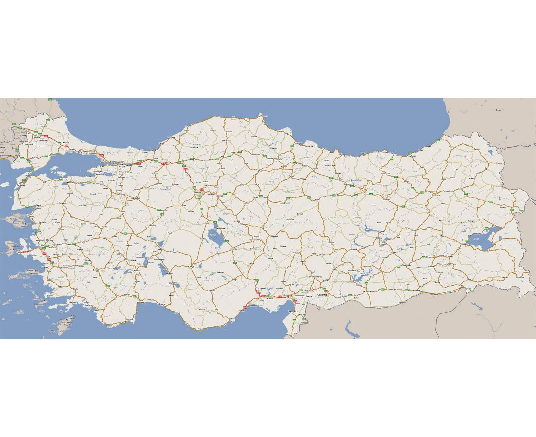 Large road map of Turkey with all cities