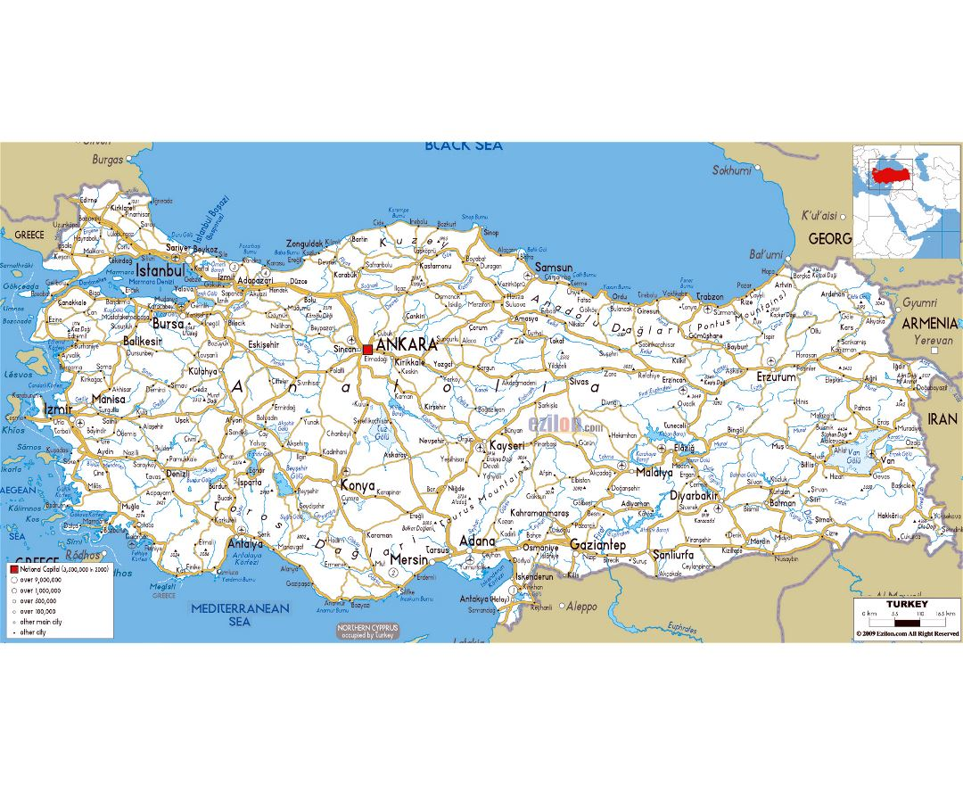 Large road map of Turkey with cities and airports