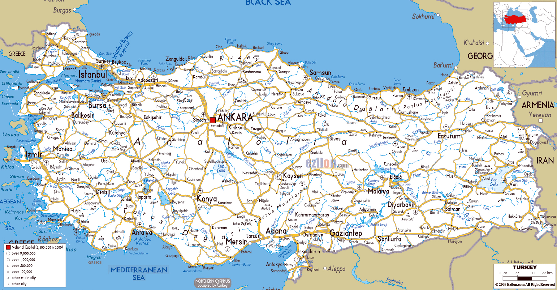 Large road map of Turkey with cities and airports Turkey Asia
