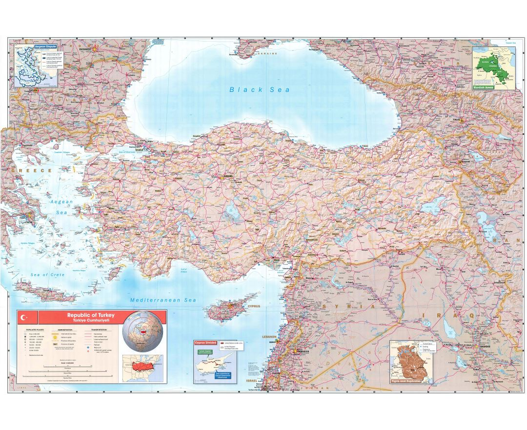 Large scale contry profile map of Turkey - 2002